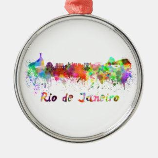 Rio de Janeiro skyline in watercolor Christmas Ornament