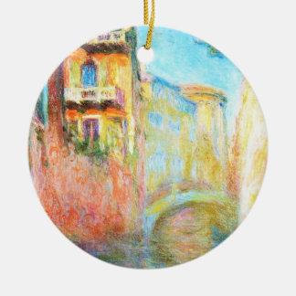 Rio della Salute  Claude Monet Double-Sided Ceramic Round Christmas Ornament