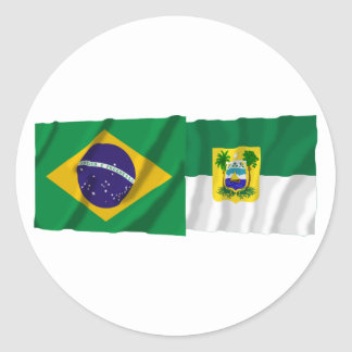 Rio Grande do Norte & Brazil Waving Flags Round Sticker
