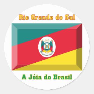 Rio Grande do Sul Flag Gem Round Sticker