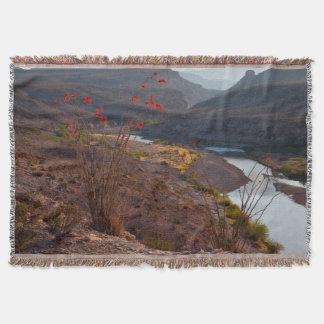 Rio Grande Running Through Chihuahuan Desert Throw Blanket