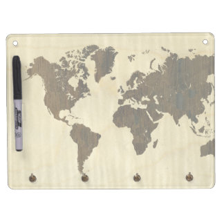 Rio Rosewood and Curly Maple World Map Dry Erase Board With Key Ring Holder