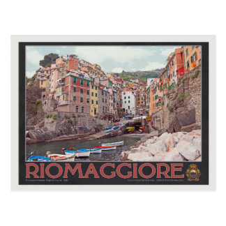 Riomaggiore Harbor - on Black.jpg Postcard