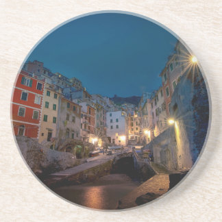 Riomaggiore village at night, Cinque Terre, Italy Coaster
