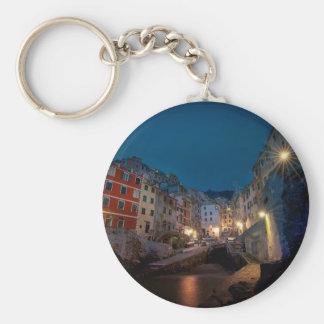 Riomaggiore village at night, Cinque Terre, Italy Key Chains