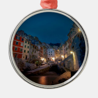 Riomaggiore village at night, Cinque Terre, Italy Silver-Colored Round Decoration