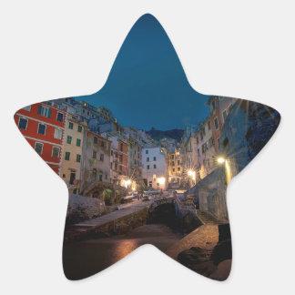Riomaggiore village at night, Cinque Terre, Italy Star Sticker