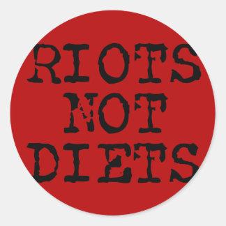 Riots Not Diets Round Sticker