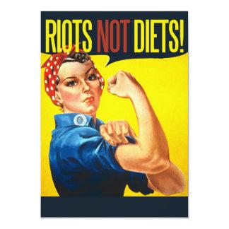 "Riots not Diets - vintage feminism 5"" X 7"" Invitation Card"