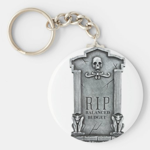 RIP BALANCED BUDGET GRAVESTONE PRINT KEYCHAIN