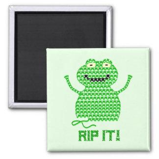 Rip It! Vector Crochet Frog (Green Background) Fridge Magnet