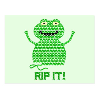 Rip It! Vector Crochet Frog (Green Background) Post Cards