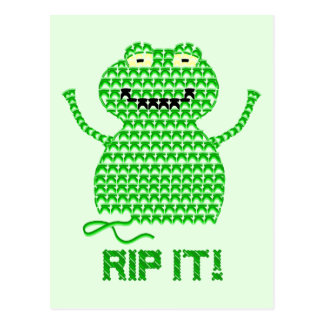 Rip It! Vector Crochet Frog (Green Background) Postcard