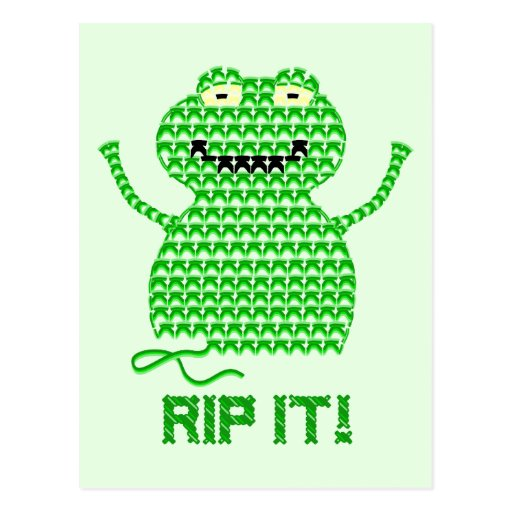Rip It! Vector Crochet Frog (Green Background) Post Card