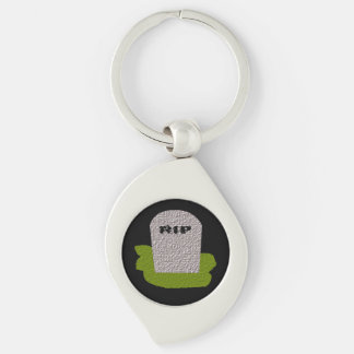 RIP Tombstone Keychain Silver-Colored Swirl Key Ring