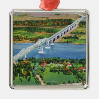 Rip Van Winkle Bridge over Hudson River Silver-Colored Square Decoration