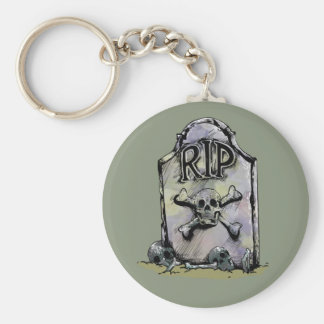 RIP Watercolour Gravestone or Tombstone Basic Round Button Key Ring