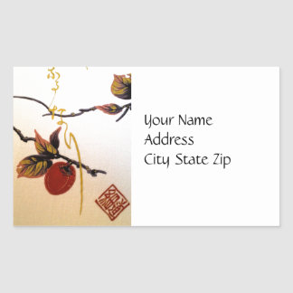 Ripe Cherry on Branch Rectangular Sticker