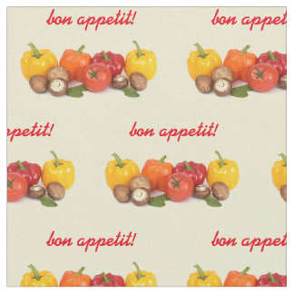 Ripe tomatoes, bell peppers and mushrooms fabric