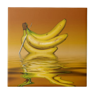 Ripe Yellow Bananas Small Square Tile