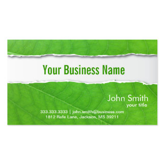 Ripped Green Leaf Texture business card