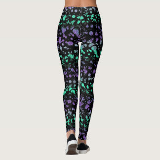 Ripped Lace Splatter Green and Purple 90s Inspired Leggings