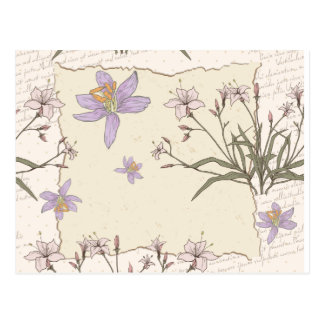 Ripped Paper  Purple Flowers Post Card