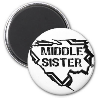 Ripped  Star - Super Middle Sister- Black Refrigerator Magnets