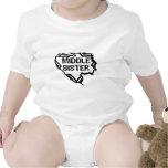 Ripped  Star - Super Middle Sister- Black Baby Bodysuit