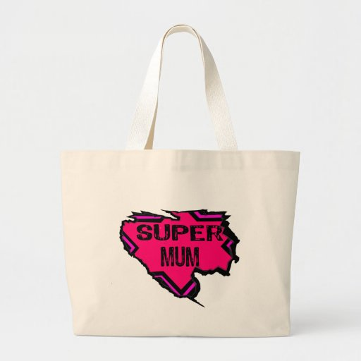 Ripped Star Super Mum- Back Text/  Pinks Jumbo Tote Bag
