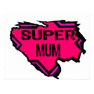 Ripped Star Super Mum-Back Text/  Pinks Postcard
