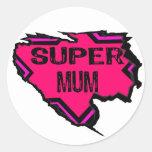 Ripped Star Super Mum-Back Text/  Pinks Sticker