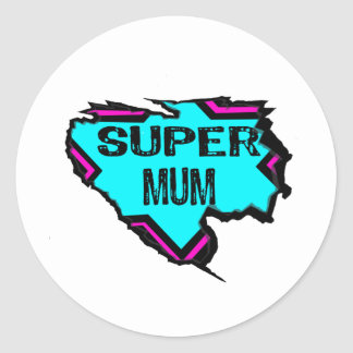 Ripped Star- Super mum- Black/ light blue/pink Classic Round Sticker