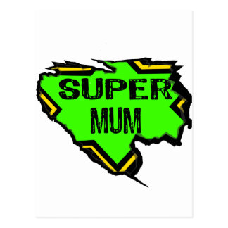 Ripped Star Super mum- Black Text/ Green/Yellow Postcard