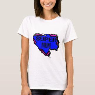 Ripped Star Super Mum - Black Text/ Pink/Purple T-Shirt