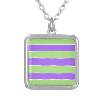 Ripped striped paper pattern square pendant necklace
