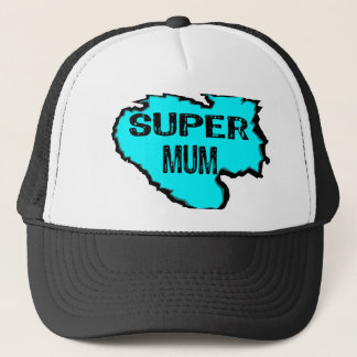 Ripped Super mum- Black Text / light blue Trucker Hat