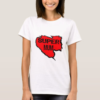 Ripped Super Mum- Black Text/ Red T-Shirt