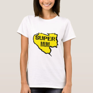 Ripped Super Mum- Black Text/ Yellow T-Shirt