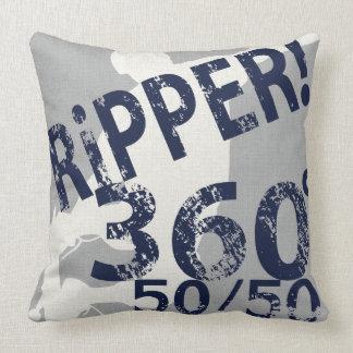 Ripper 360 50/50 Skateboard Pillow Silver Navy Throw Cushions