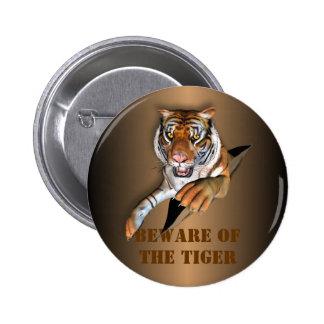 Ripping Tiger Design 6 Cm Round Badge