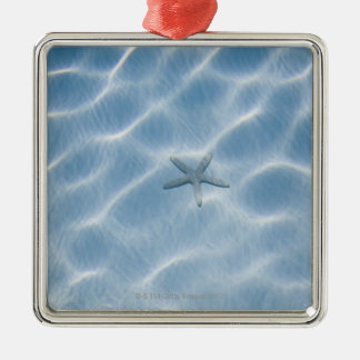 Rippled blue water with starfish christmas ornament