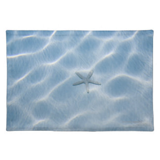Rippled blue water with starfish placemat