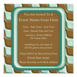 Rippled Diamonds - Chocolate Mint 5.25x5.25 Square Paper Invitation Card