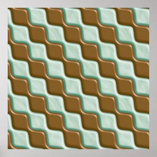 Rippled Diamonds - Chocolate Mint Poster