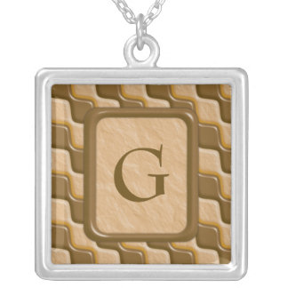 Rippled Diamonds - Chocolate Peanut Butter Personalized Necklace