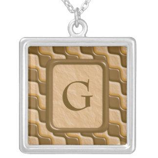 Rippled Diamonds - Chocolate Peanut Butter Square Pendant Necklace
