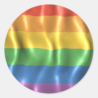 Rippled Pride Flag Round Sticker