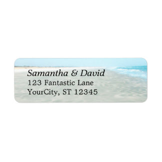 Rippled Sand Aqua Water Photo Modern Beach Return Address Label