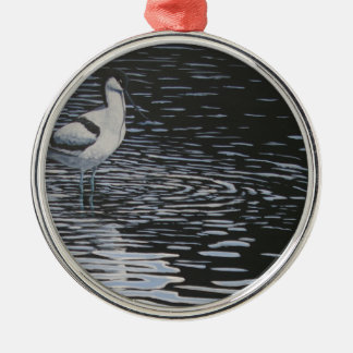 Ripples and a Avocet in contrast Silver-Colored Round Decoration
